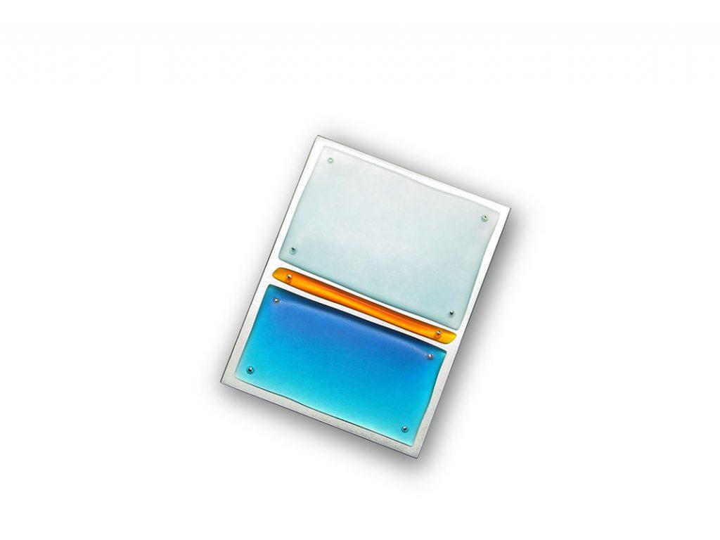 Brosche, geschliffenes Acryl, 925/000 Silber, 54 x 70 mm
