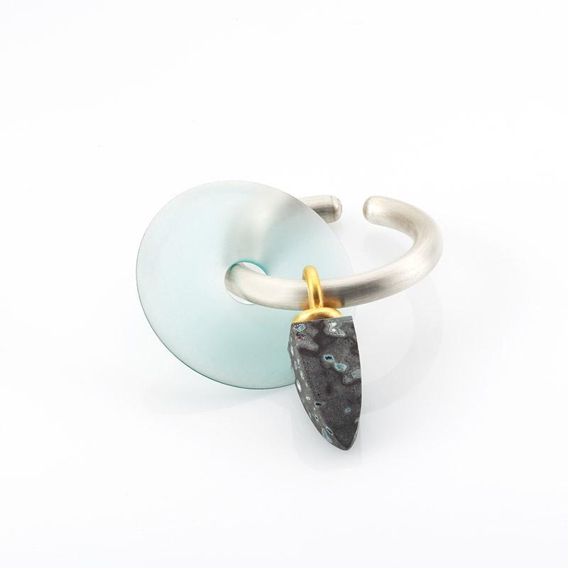 Creole, 925/000 Silber teilweise feingoldplattiert, Acryllinse, Melaphyr