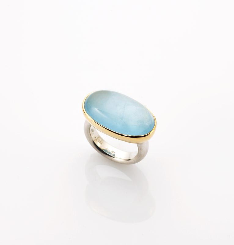 Ring, 925/000 Silber, 750/000 Gold, Aquamarin