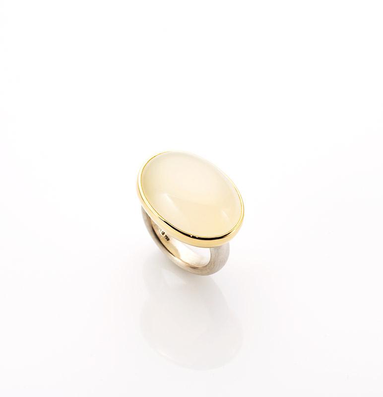 Ring, 925/000 Silber, 750/000 Gold, weißer Mondstein