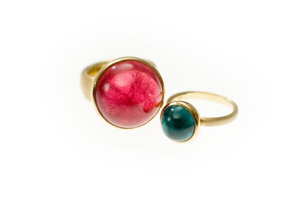Ringe, 750/000 Gold, Rubellit, Turmalin