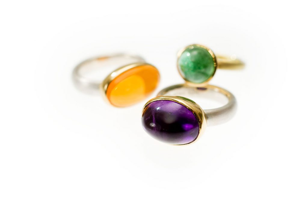Ringe, 925/000 Silber, 750/000 Gold, Feueropal, Amethyst, Turmalin
