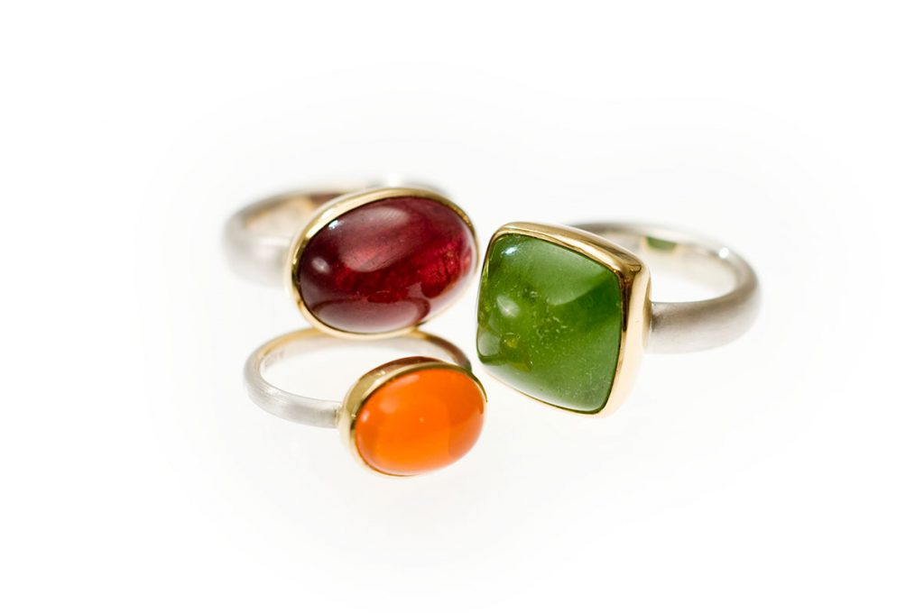 Ringe, 925/000 Silber, 750/000 Gold, roter Turmalin, Feueropal, Peridot