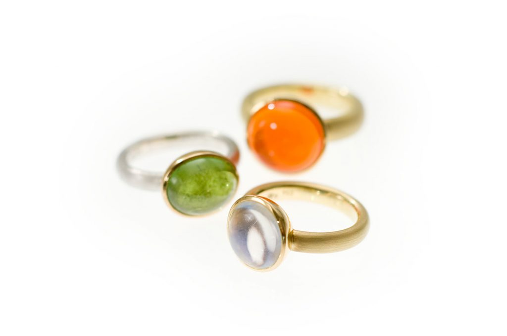 Ringe, 925/000 Silber, 750/000 Gold, Turmalin, Ceylon-Mondstein, Feueropal