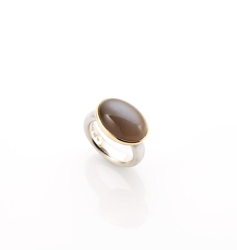 Ring, 925/000 Silber, 750/000 Gold, grauer Mondstein