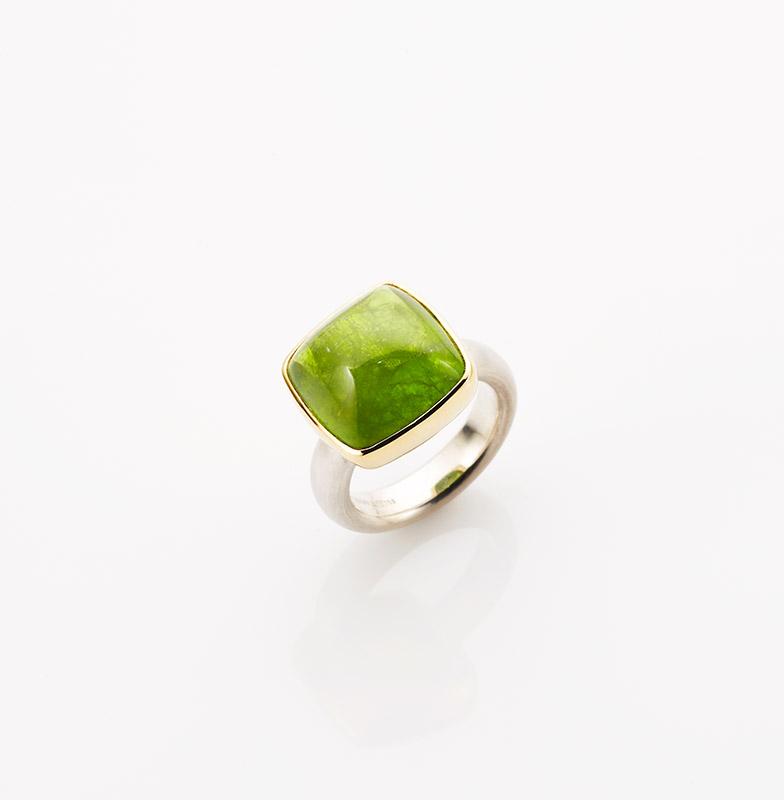 Ring, 925/000 Silber, 750/000 Gold, Peridot