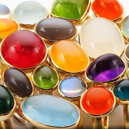 Ringe, 925/000 Silber, 750/000 Gold, Edelsteine
